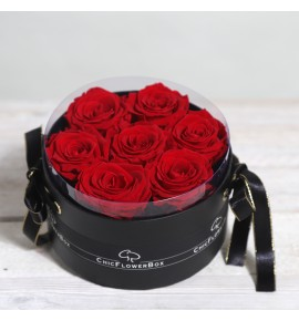 Eternity - Cilindro nero e 7 rose rosse