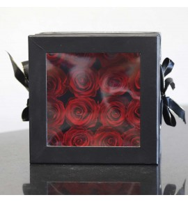 Eternity - Box nero grande 16 rose rosse